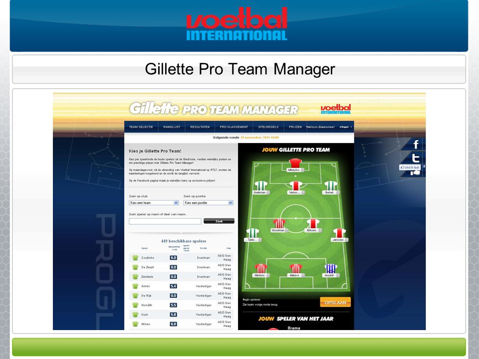 Gillette Pro Team Manager