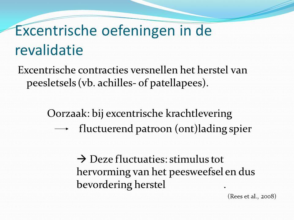 Excentrische oefeningen in de revalidatie Excentrische contracties versnellen het herstel van peesletsels (vb. achilles- of patellapees). Oorzaak: bij