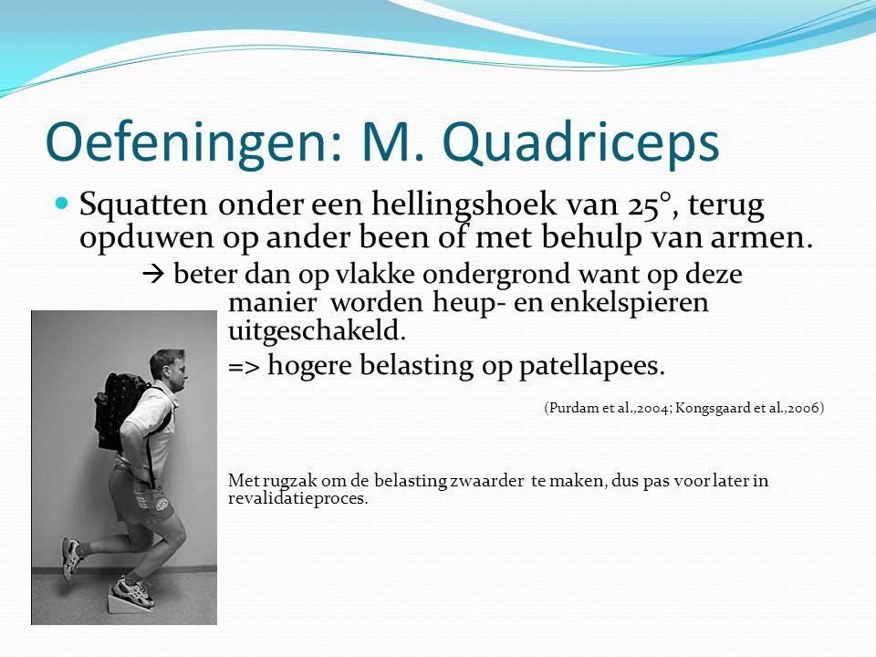 Oefeningen: M. Quadriceps Squatten onder een hellingshoek van 25°, terug opduwen op ander been of met behulp van armen.  beter dan op vlakke ondergro