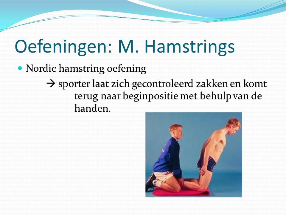Oefeningen: M. Hamstrings Nordic hamstring oefening  sporter laat zich gecontroleerd zakken en komt terug naar beginpositie met behulp van de handen.