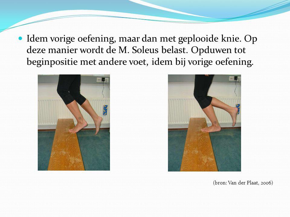 Idem vorige oefening, maar dan met geplooide knie. Op deze manier wordt de M. Soleus belast. Opduwen tot beginpositie met andere voet, idem bij vorige