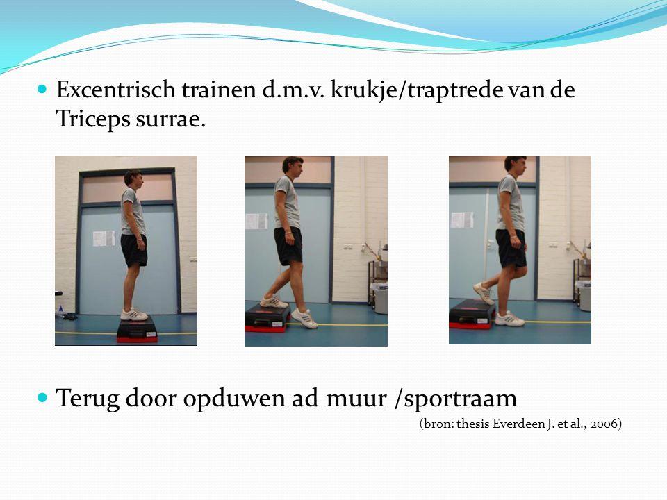 Excentrisch trainen d.m.v. krukje/traptrede van de Triceps surrae. Terug door opduwen ad muur /sportraam (bron: thesis Everdeen J. et al., 2006)