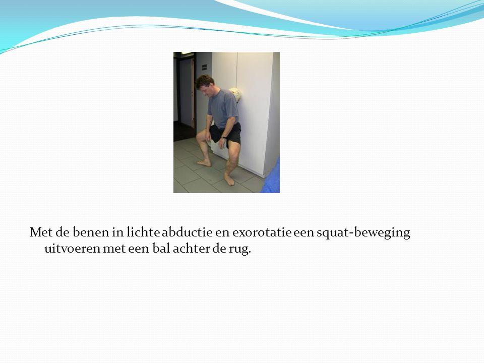 Met de benen in lichte abductie en exorotatie een squat-beweging uitvoeren met een bal achter de rug.