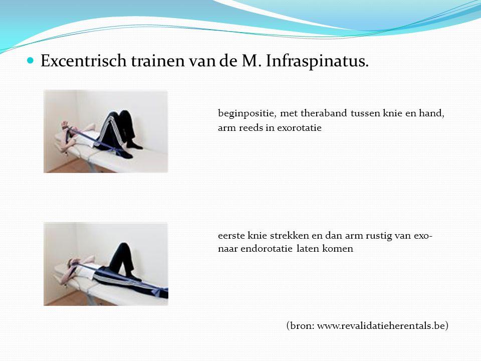 Excentrisch trainen van de M. Infraspinatus. beginpositie, met theraband tussen knie en hand, arm reeds in exorotatie eerste knie strekken en dan arm