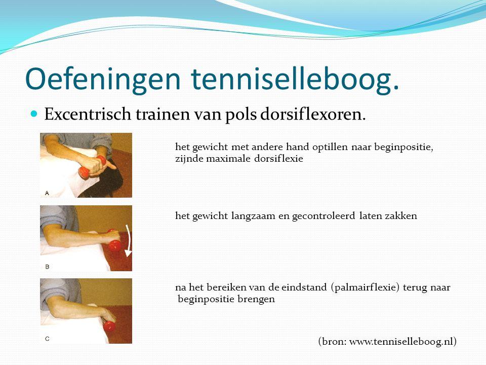 Oefeningen tenniselleboog. Excentrisch trainen van pols dorsiflexoren. het gewicht met andere hand optillen naar beginpositie, zijnde maximale dorsifl