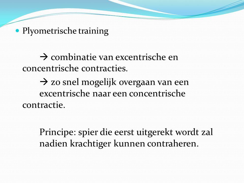 Plyometrische training  combinatie van excentrische en concentrische contracties.  zo snel mogelijk overgaan van een excentrische naar een concentri