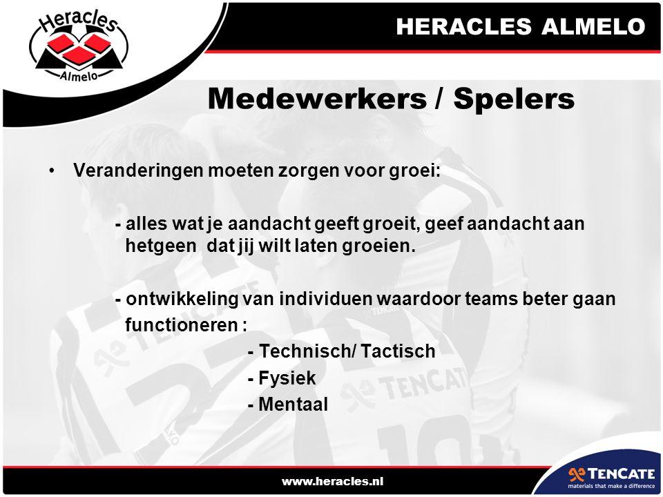 HERACLES ALMELO www.heracles.nl Medewerkers / Spelers Veranderingen moeten zorgen voor groei: - alles wat je aandacht geeft groeit, geef aandacht aan hetgeen dat jij wilt laten groeien.