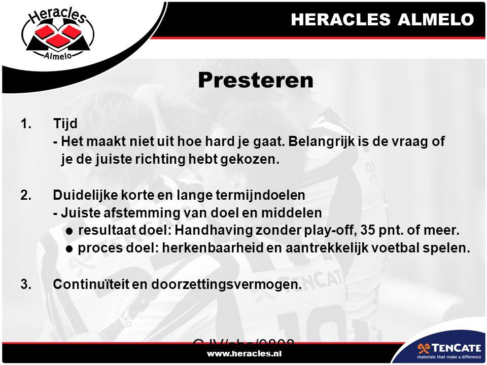HERACLES ALMELO www.heracles.nl GJV/sha/0808 Presteren 1.Tijd - Het maakt niet uit hoe hard je gaat. Belangrijk is de vraag of je de juiste richting h