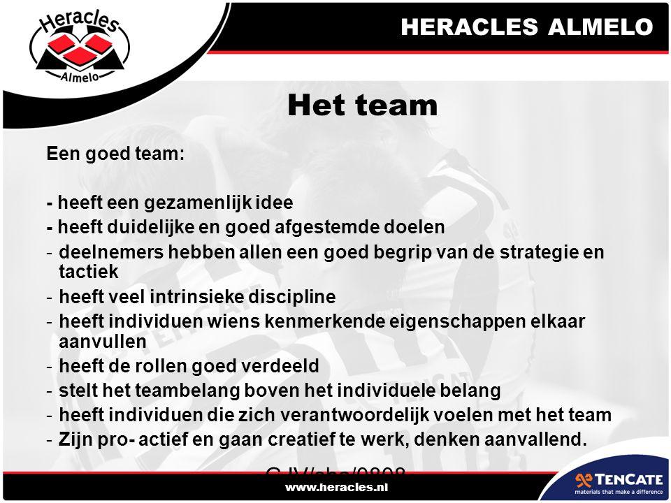 HERACLES ALMELO www.heracles.nl GJV/sha/0808 Het team Een goed team: - heeft een gezamenlijk idee - heeft duidelijke en goed afgestemde doelen -deelnemers hebben allen een goed begrip van de strategie en tactiek -heeft veel intrinsieke discipline -heeft individuen wiens kenmerkende eigenschappen elkaar aanvullen -heeft de rollen goed verdeeld -stelt het teambelang boven het individuele belang -heeft individuen die zich verantwoordelijk voelen met het team -Zijn pro- actief en gaan creatief te werk, denken aanvallend.