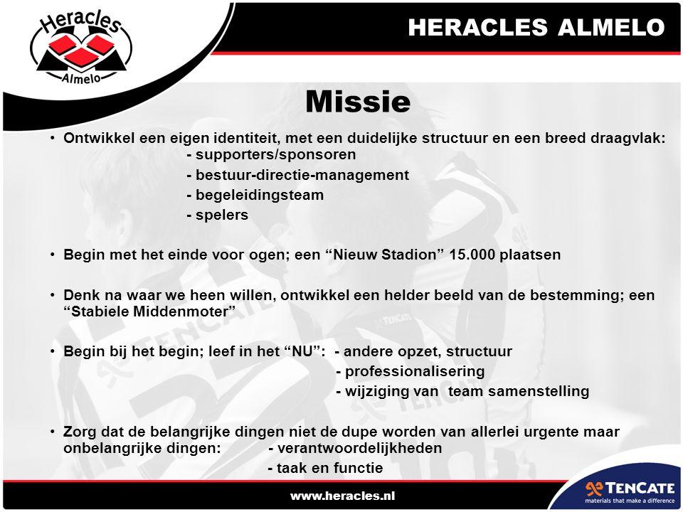 www.heracles.nl Missie Ontwikkel een eigen identiteit, met een duidelijke structuur en een breed draagvlak: - supporters/sponsoren - bestuur-directie-