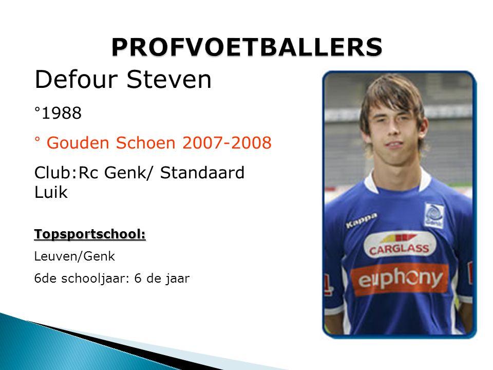 Dembele Moussa °1987 Club: GBA / Willem II/AZ/Fulham Topsportschool: WILRIJK 6de schooljaar: 2004-2005