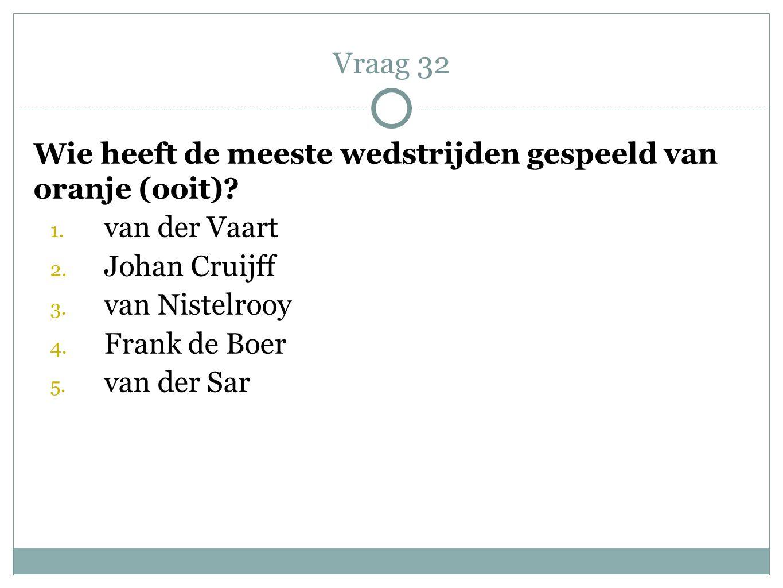 Wie heeft de meeste wedstrijden gespeeld van oranje (ooit)? 1. van der Vaart 2. Johan Cruijff 3. van Nistelrooy 4. Frank de Boer 5. van der Sar Vraag