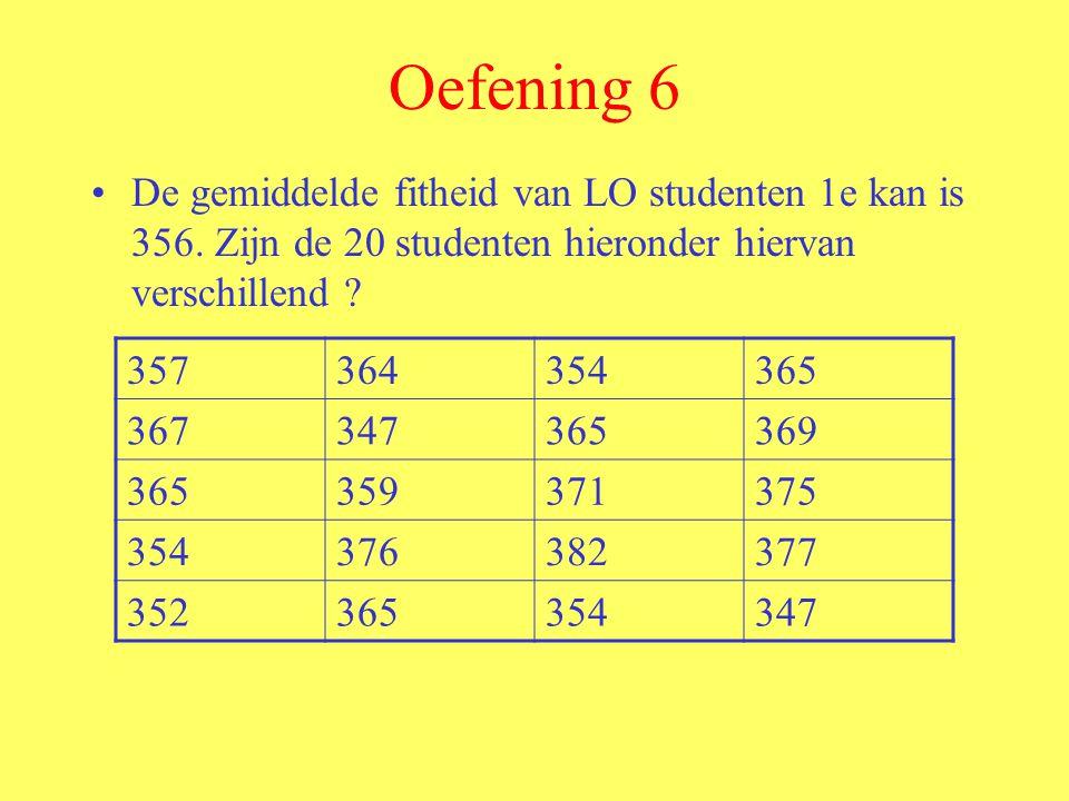 Oefening 6 De gemiddelde fitheid van LO studenten 1e kan is 356. Zijn de 20 studenten hieronder hiervan verschillend ? 357364354365 367347365369 36535