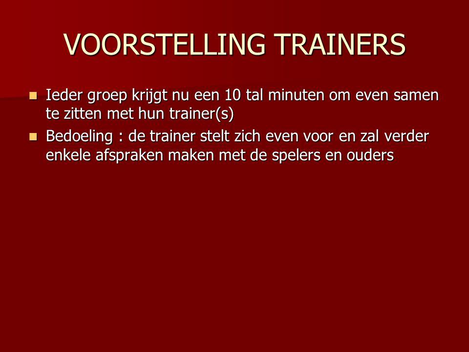 VOORSTELLING TRAINERS Ieder groep krijgt nu een 10 tal minuten om even samen te zitten met hun trainer(s) Ieder groep krijgt nu een 10 tal minuten om