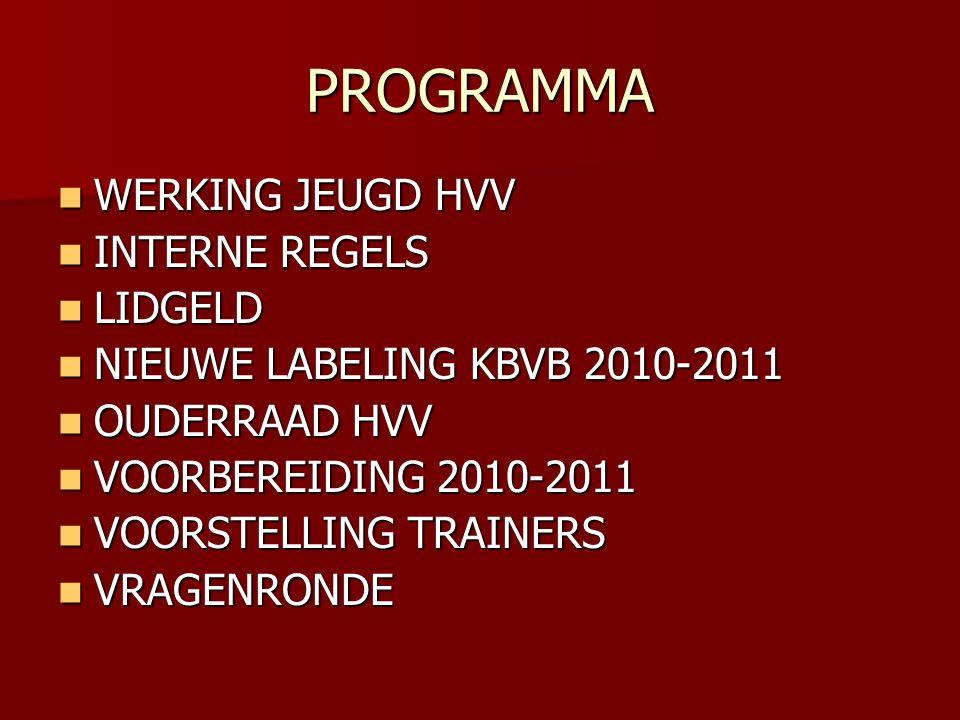 PROGRAMMA WERKING JEUGD HVV WERKING JEUGD HVV INTERNE REGELS INTERNE REGELS LIDGELD LIDGELD NIEUWE LABELING KBVB 2010-2011 NIEUWE LABELING KBVB 2010-2011 OUDERRAAD HVV OUDERRAAD HVV VOORBEREIDING 2010-2011 VOORBEREIDING 2010-2011 VOORSTELLING TRAINERS VOORSTELLING TRAINERS VRAGENRONDE VRAGENRONDE