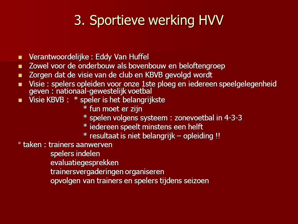 3. Sportieve werking HVV Verantwoordelijke : Eddy Van Huffel Verantwoordelijke : Eddy Van Huffel Zowel voor de onderbouw als bovenbouw en beloftengroe
