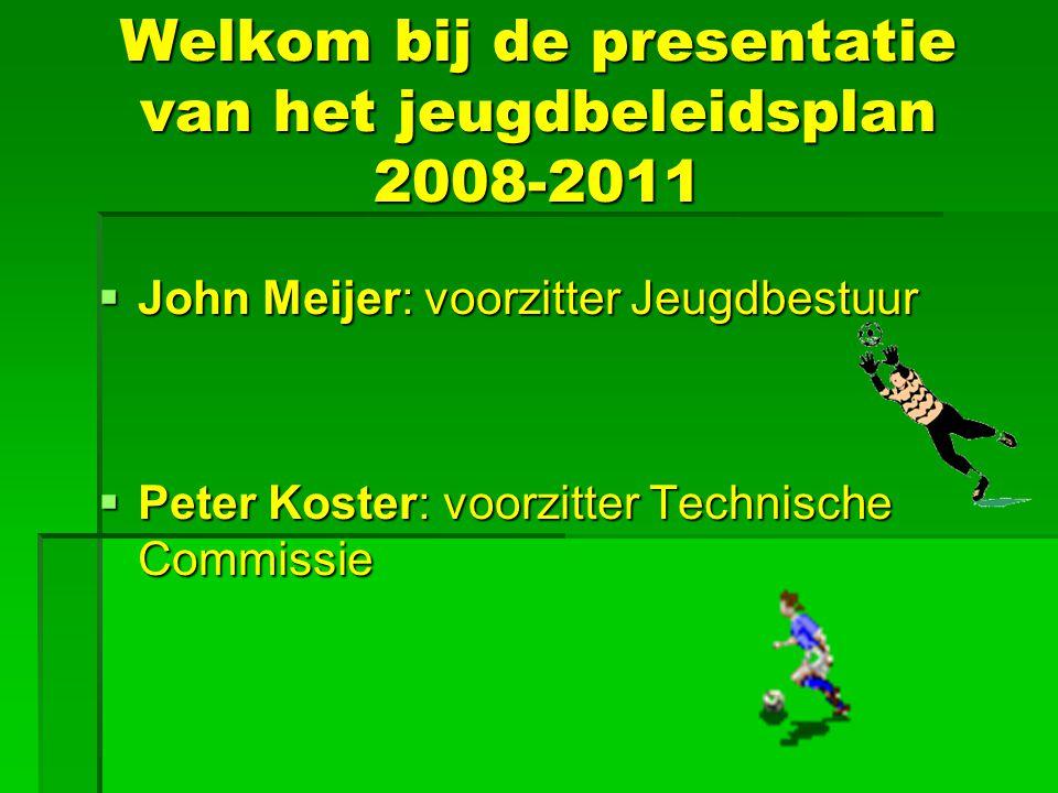 Welkom bij de presentatie van het jeugdbeleidsplan 2008-2011  John Meijer: voorzitter Jeugdbestuur  Peter Koster: voorzitter Technische Commissie