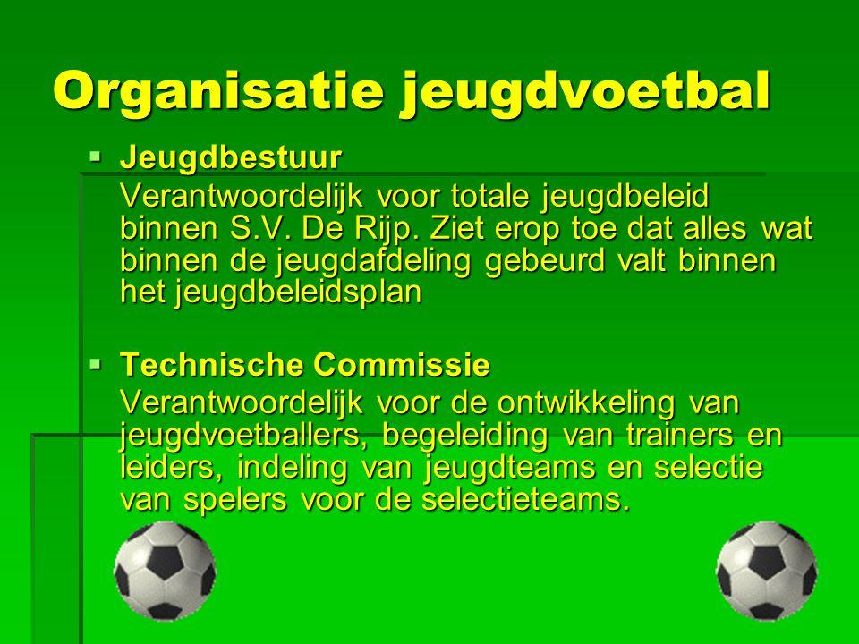 Organisatie jeugdvoetbal  Jeugdbestuur Verantwoordelijk voor totale jeugdbeleid binnen S.V. De Rijp. Ziet erop toe dat alles wat binnen de jeugdafdel