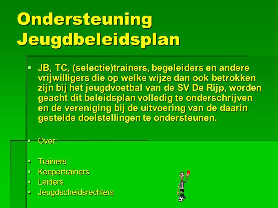 Ondersteuning Jeugdbeleidsplan  JB, TC, (selectie)trainers, begeleiders en andere vrijwilligers die op welke wijze dan ook betrokken zijn bij het jeu