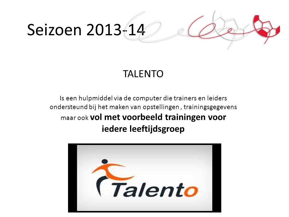 Seizoen 2013-14 TALENTO Is een hulpmiddel via de computer die trainers en leiders ondersteund bij het maken van opstellingen, trainingsgegevens maar o