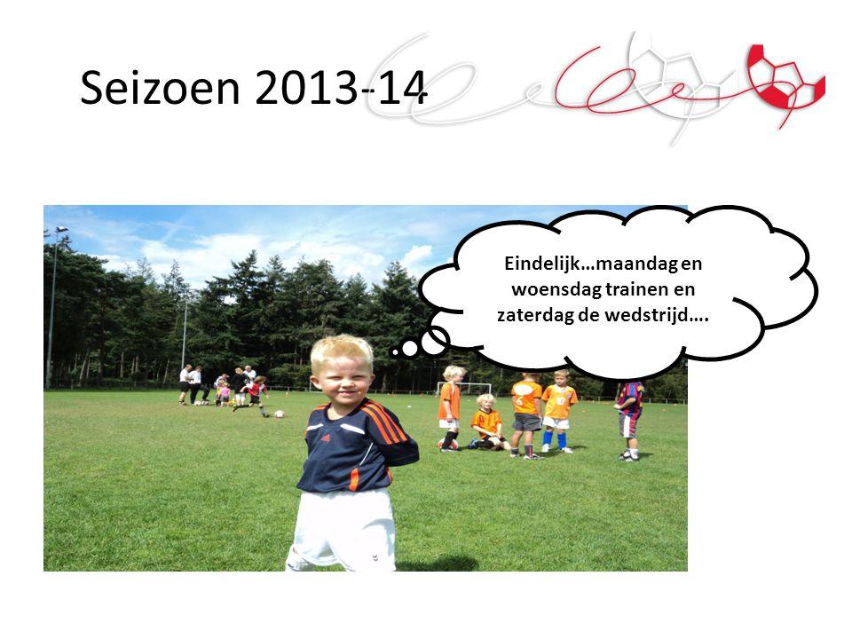 Seizoen 2013-14 Eindelijk…maandag en woensdag trainen en zaterdag de wedstrijd….