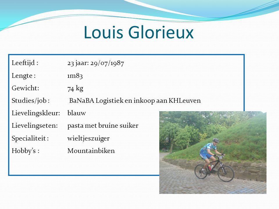 Louis Glorieux Leeftijd : 23 jaar: 29/07/1987 Lengte :1m83 Gewicht: 74 kg Studies/job : BaNaBA Logistiek en inkoop aan KHLeuven Lievelingskleur:blauw