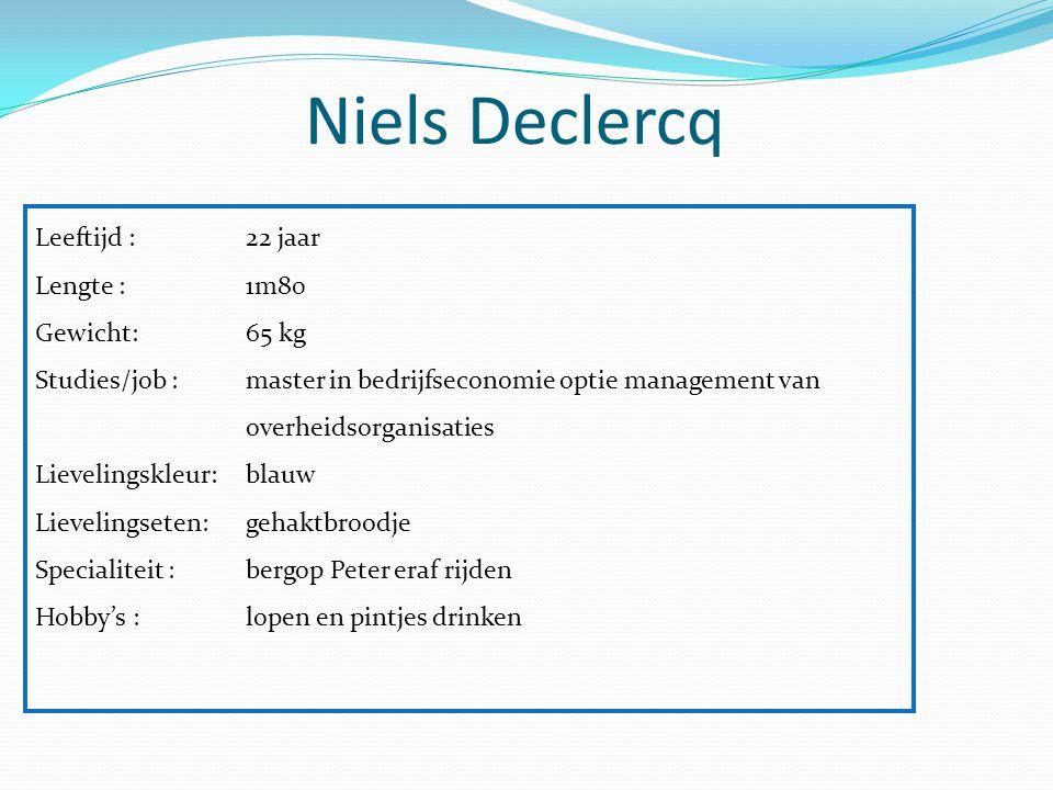 Niels Declercq Leeftijd : 22 jaar Lengte :1m80 Gewicht: 65 kg Studies/job :master in bedrijfseconomie optie management van overheidsorganisaties Lieve