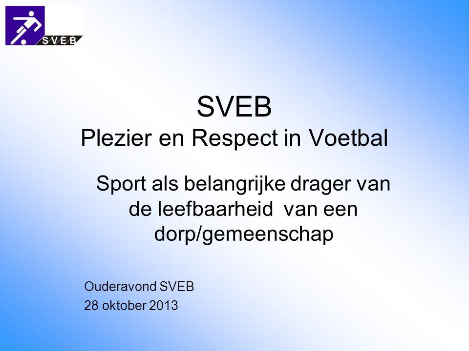 SVEB Plezier en Respect in Voetbal Sport als belangrijke drager van de leefbaarheid van een dorp/gemeenschap Ouderavond SVEB 28 oktober 2013
