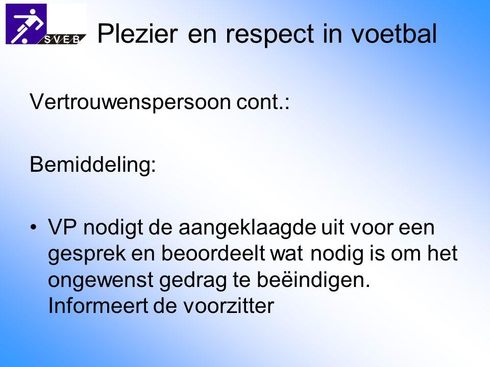 Plezier en respect in voetbal Vertrouwenspersoon cont.: Bemiddeling: VP nodigt de aangeklaagde uit voor een gesprek en beoordeelt wat nodig is om het ongewenst gedrag te beëindigen.