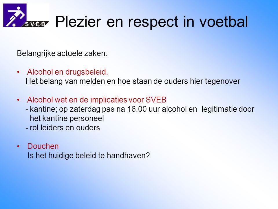 Plezier en respect in voetbal Belangrijke actuele zaken: Alcohol en drugsbeleid.