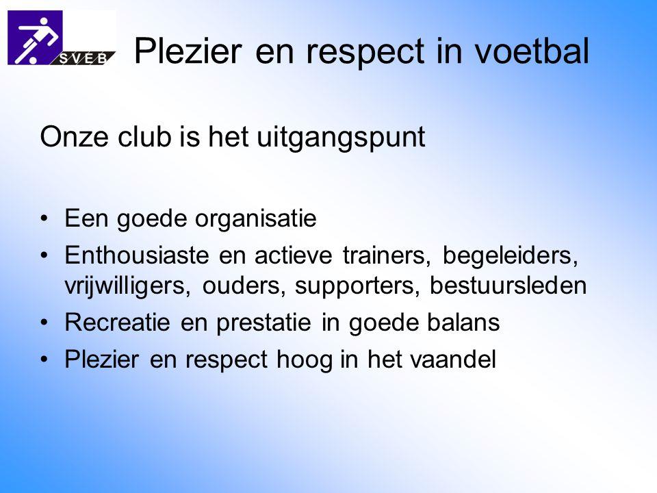 Plezier en respect in voetbal Onze club is het uitgangspunt Een goede organisatie Enthousiaste en actieve trainers, begeleiders, vrijwilligers, ouders, supporters, bestuursleden Recreatie en prestatie in goede balans Plezier en respect hoog in het vaandel