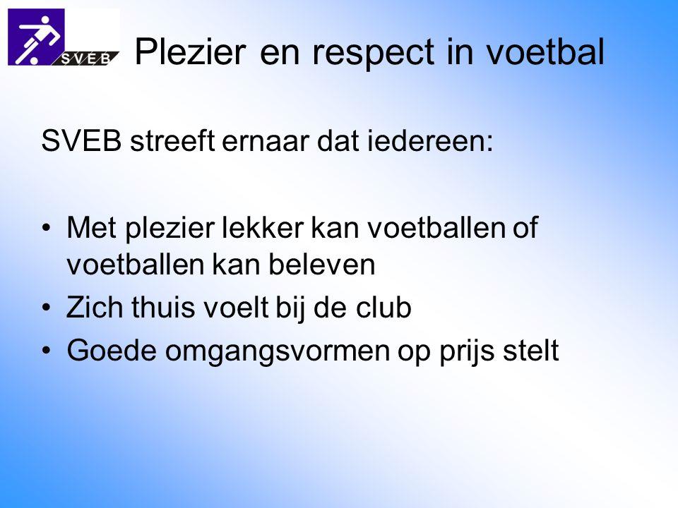 Plezier en respect in voetbal SVEB streeft ernaar dat iedereen: Met plezier lekker kan voetballen of voetballen kan beleven Zich thuis voelt bij de club Goede omgangsvormen op prijs stelt