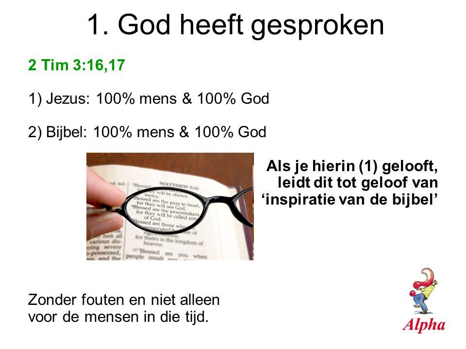 2 Tim 3:16,17 1) Jezus: 100% mens & 100% God 2) Bijbel: 100% mens & 100% God Als je hierin (1) gelooft, leidt dit tot geloof van 'inspiratie van de bi