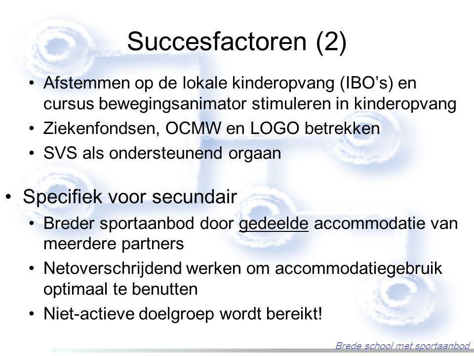 Succesfactoren (2) Afstemmen op de lokale kinderopvang (IBO's) en cursus bewegingsanimator stimuleren in kinderopvang Ziekenfondsen, OCMW en LOGO betrekken SVS als ondersteunend orgaan Specifiek voor secundair Breder sportaanbod door gedeelde accommodatie van meerdere partners Netoverschrijdend werken om accommodatiegebruik optimaal te benutten Niet-actieve doelgroep wordt bereikt.
