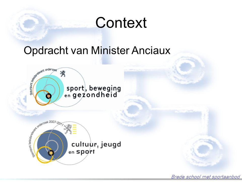 Context Opdracht van Minister Anciaux Brede school met sportaanbod