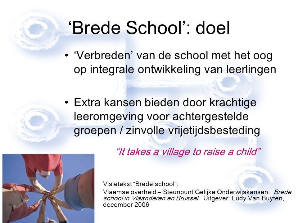 'Brede School': doel 'Verbreden' van de school met het oog op integrale ontwikkeling van leerlingen Extra kansen bieden door krachtige leeromgeving vo