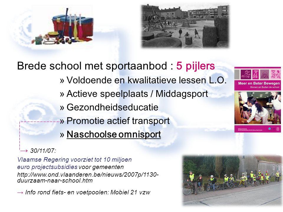 Brede school met sportaanbod : 5 pijlers »Voldoende en kwalitatieve lessen L.O. »Actieve speelplaats / Middagsport »Gezondheidseducatie »Promotie acti