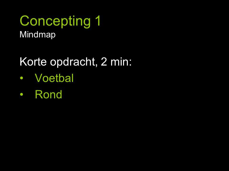 Concepting 1 Mindmap Korte opdracht, 2 min: Voetbal Rond