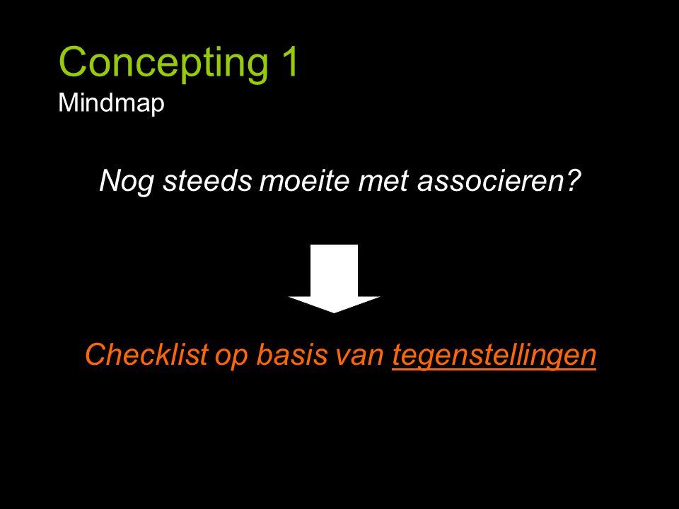 Concepting 1 Mindmap Nog steeds moeite met associeren? Checklist op basis van tegenstellingen