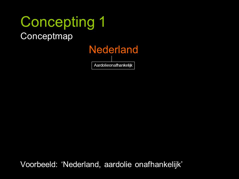 Concepting 1 Conceptmap Voorbeeld: 'Nederland, aardolie onafhankelijk' Nederland Aardolieonafhankelijk