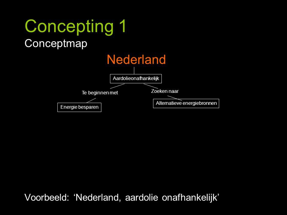 Concepting 1 Conceptmap Voorbeeld: 'Nederland, aardolie onafhankelijk' Nederland Energie besparen Alternatieve energiebronnen Te beginnen met Aardolie