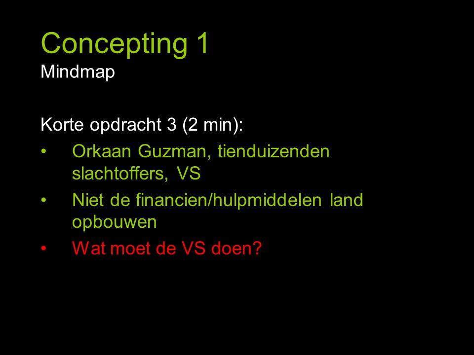 Concepting 1 Mindmap Korte opdracht 3 (2 min): Orkaan Guzman, tienduizenden slachtoffers, VS Niet de financien/hulpmiddelen land opbouwen Wat moet de