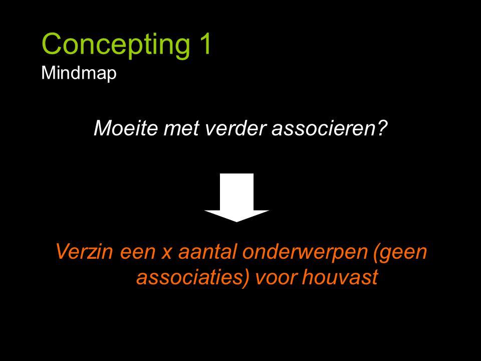 Concepting 1 Mindmap Moeite met verder associeren? Verzin een x aantal onderwerpen (geen associaties) voor houvast