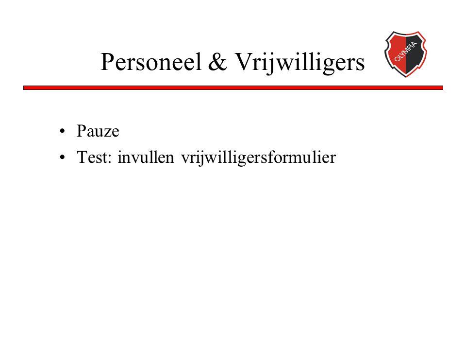 Personeel & Vrijwilligers Pauze Test: invullen vrijwilligersformulier