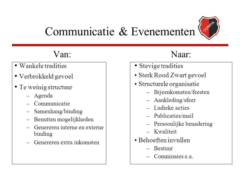 Communicatie & Evenementen Van: Wankele tradities Verbrokkeld gevoel Te weinig structuur –Agenda –Communicatie –Samenhang/binding –Benutten mogelijkhe