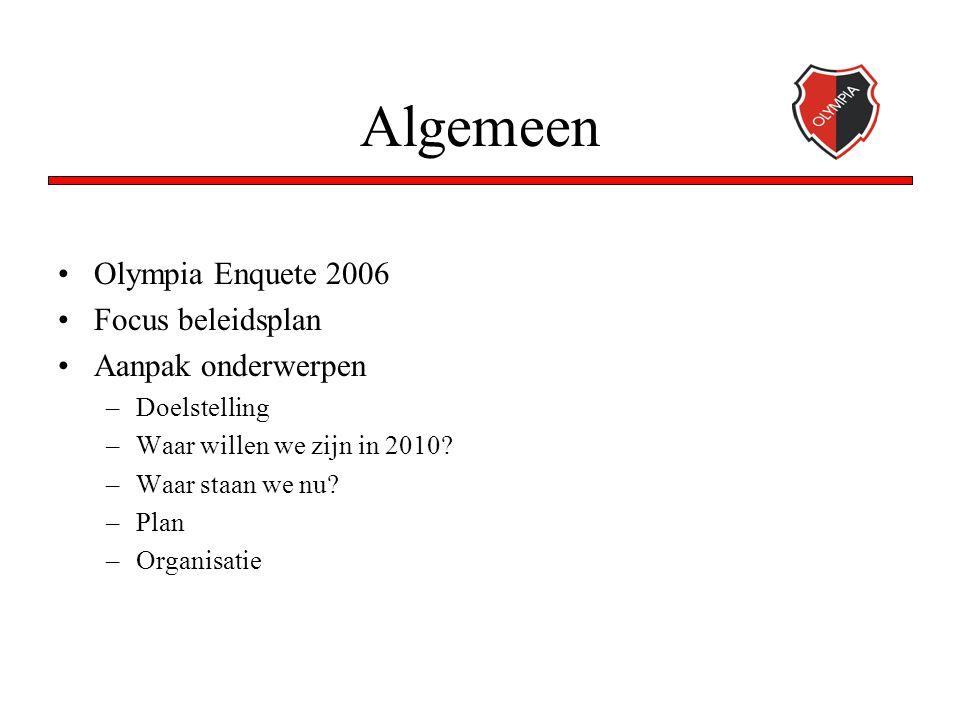 Algemeen Olympia Enquete 2006 Focus beleidsplan Aanpak onderwerpen –Doelstelling –Waar willen we zijn in 2010? –Waar staan we nu? –Plan –Organisatie