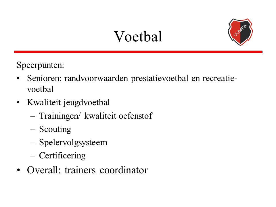 Voetbal Speerpunten: Senioren: randvoorwaarden prestatievoetbal en recreatie- voetbal Kwaliteit jeugdvoetbal –Trainingen/ kwaliteit oefenstof –Scouting –Spelervolgsysteem –Certificering Overall: trainers coordinator