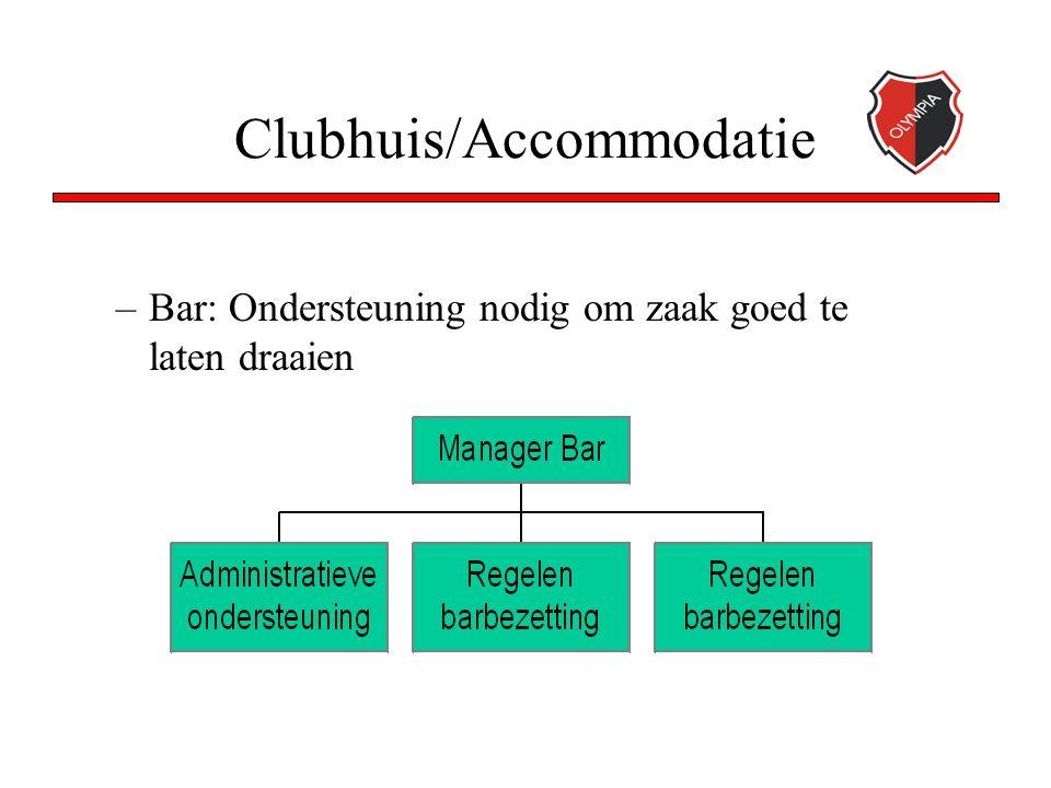 Clubhuis/Accommodatie –Bar: Ondersteuning nodig om zaak goed te laten draaien