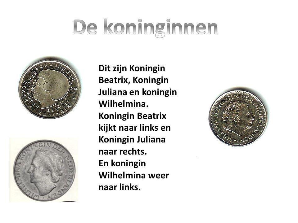 Dit zijn Koningin Beatrix, Koningin Juliana en koningin Wilhelmina. Koningin Beatrix kijkt naar links en Koningin Juliana naar rechts. En koningin Wil