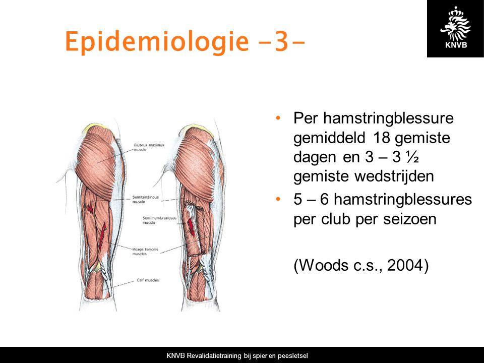 KNVB Revalidatietraining bij spier en peesletsel Epidemiologie -3- Per hamstringblessure gemiddeld 18 gemiste dagen en 3 – 3 ½ gemiste wedstrijden 5 – 6 hamstringblessures per club per seizoen (Woods c.s., 2004)
